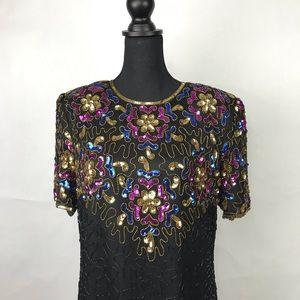 Stenay Womens Dress Sz 14 Black Evening 100% Silk